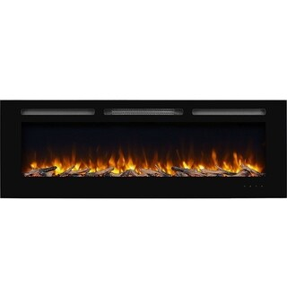 "60"" Alice In-Wall Recessed Electric Fireplace,1500W, Black"