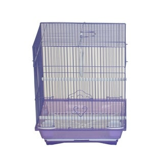 """YML A1124MPUR Flat Top Small Parakeet Cage with Removable Plastic Tray in Purple - 11"""" x 8.5"""" x 14"""""""