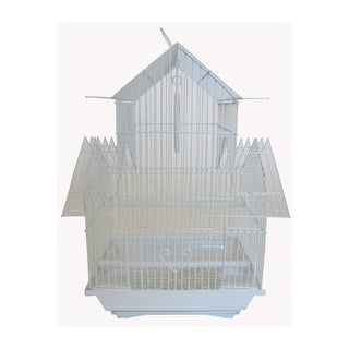 YML A1144WHT Pagoda Top Bird Cage with Removable Plastic Tray, Small - White