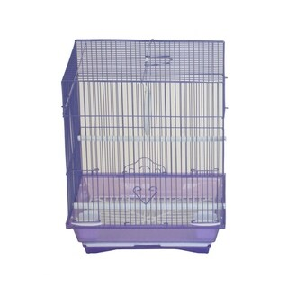 """YML A1324MPUR Flat Top Medium Parakeet Cage with Removable Plastic Tray in Purple - 13.3"""" x 10.8"""" x 16.5"""""""
