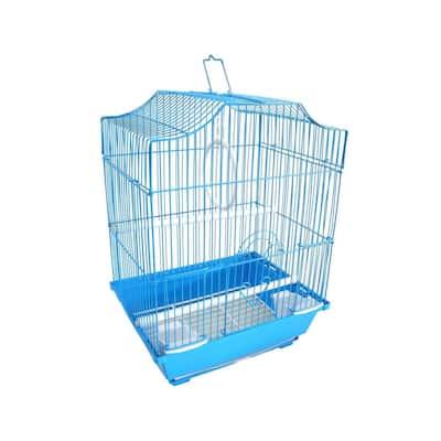 YML A1334BLU Cornerless Flat Top Bird Cage with Removable Plastic Tray, Medium - Blue