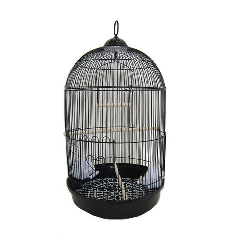 YML A1584BLK Bar Spacing Round Bird Cage with Removable Plastic Tray, Medium - Black