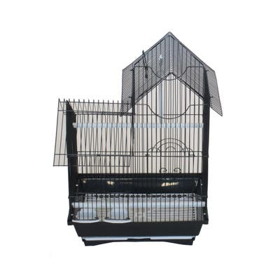 YML Pagoda Style Top Version 2 Bird Cage with Removable Plastic Tray - Black