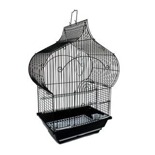 YML Taj Mahal Top Shape Medium Bird Cage with Removable Plastic Tray - Black