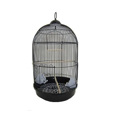 YML A1564BLK Bar Spacing Round Bird Cage with Removable Plastic Tray, Small - Black