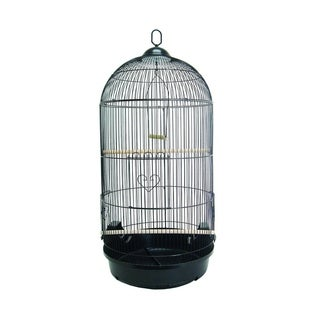 YML A1594BLK Bar Spacing Round Bird Cage with Removable Plastic Tray, Large - Black