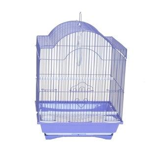 YML Cornerless Round Top Shape Medium Bird Cage with Removable Plastic Tray - Purple