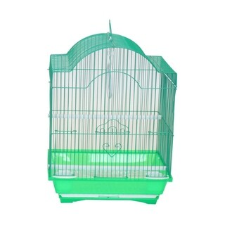 YML Cornerless Round Top Shape Medium Bird Cage with Removable Plastic Tray - Green