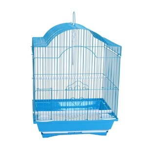 YML Cornerless Round Top Shape Medium Bird Cage with Removable Plastic Tray - Blue