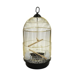 YML A1594BRASS Bar Spacing Round Bird Cage with Removable Plastic Tray, Large - Brass