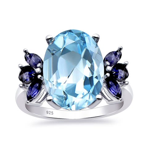 Sterling Silver Ring 8ct Iolite & Blue Topaz Ring Halo Engagement Ring