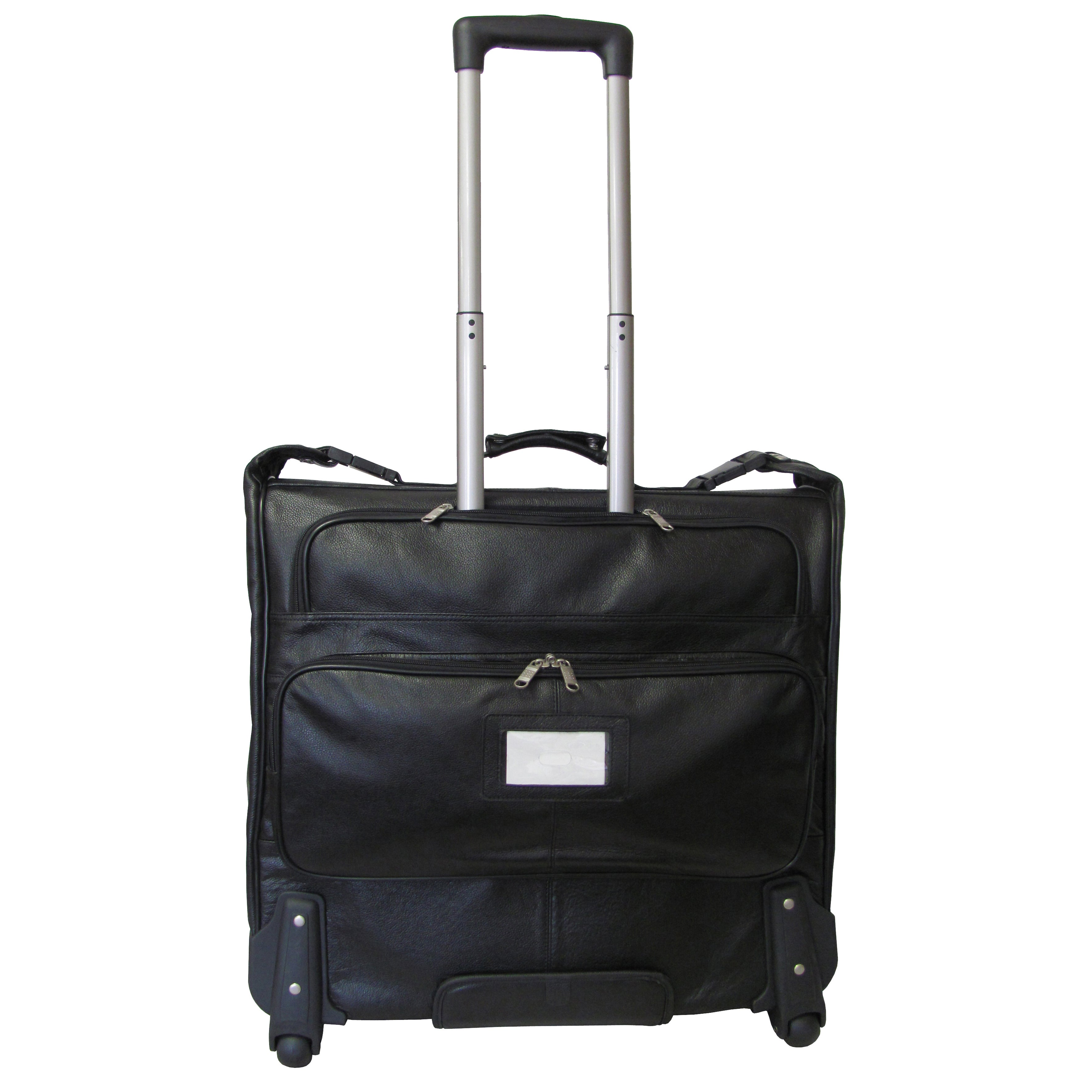 Amerileather Cowhide Leather Black 21 5 Inch Wheeled Garment Bag