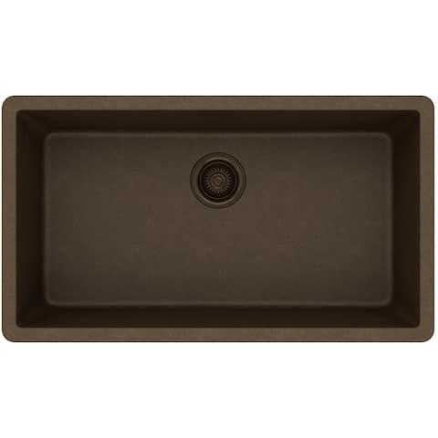 "Elkay Quartz Classic 33"" x 18-7/16"" x 9-7/16"", Single Bowl Undermount Sink, Mocha"