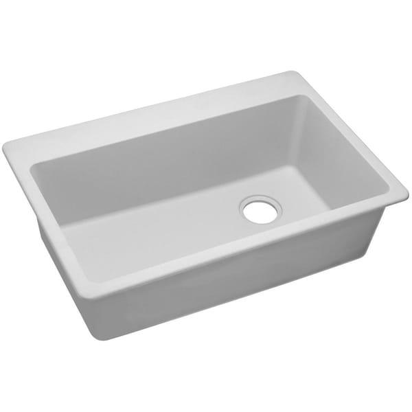 "Elkay Quartz Classic 33"" x 22"" x 9-1/2"", Single Bowl Top Mount Sink, White"