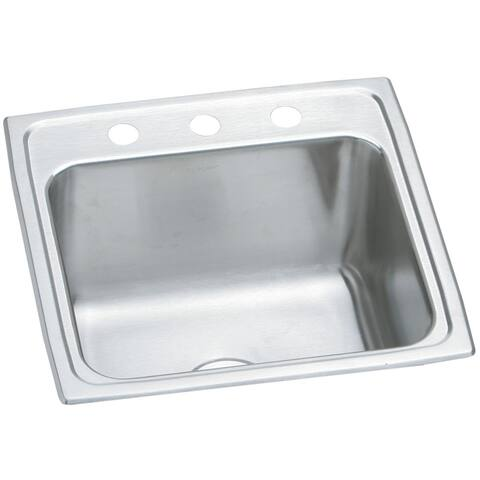 "Elkay Lustertone Stainless Steel 19-1/2"" x 19"" x 10-1/8"", Single Bowl Top Mount Laundry Sink"