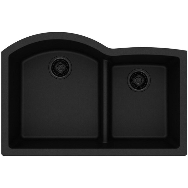 "Elkay Quartz Classic 33"" x 22"" x 10"", Offset 60/40 Double Bowl Undermount Sink with Aqua Divide - 33 x 22 x 10"