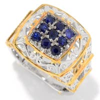 "Michael Valitutti Palladium Silver Paris ""Petite Paree"" Blue Sapphire Eiffel Tower Ring"