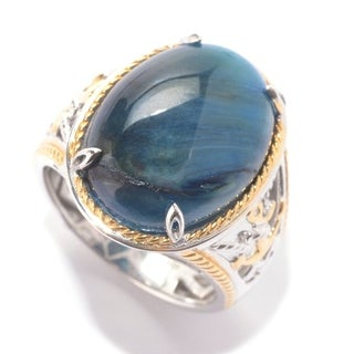 Michael Valitutti Palladium Silver Men's Blue Tiger's Eye Anchor Ring