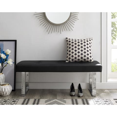 Gene PU Leather Button Tufted Bench with Stainless Steel Legs