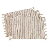 "Striped Leather & Cotton Chindi Placemats (Set of 4) - 14""x20"""