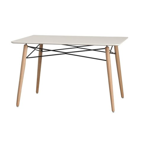 LeisureMod Dover Rectangle White Wood Dining Table Dowel Eiffel Base