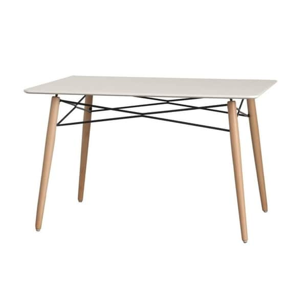 White Wood Dining Table: Shop LeisureMod Dover Rectangle White Wood Dining Table
