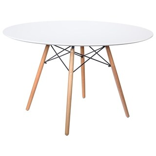 LeisureMod Dover Round White Wood Dining Table With Dowel Eiffel Base