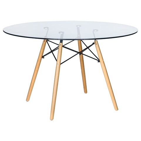 LeisureMod Dover Round Clear Glass Dining Table With Dowel Eiffel Base