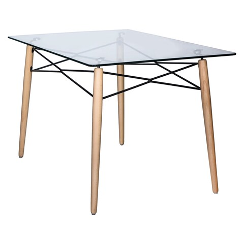 LeisureMod Dover Rectangle Glass Top Dining Table W/ Dowel Eiffel Base - CLEAR