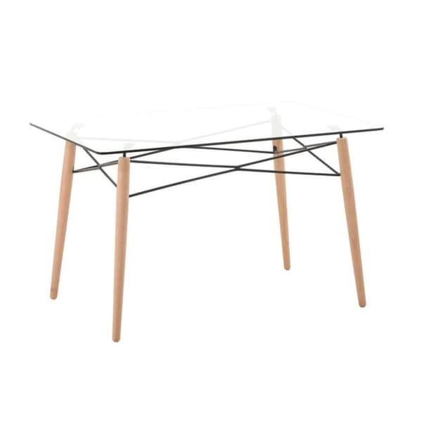 Shop Leisuremod Dover Rectangle Glass Top Dining Table W Dowel