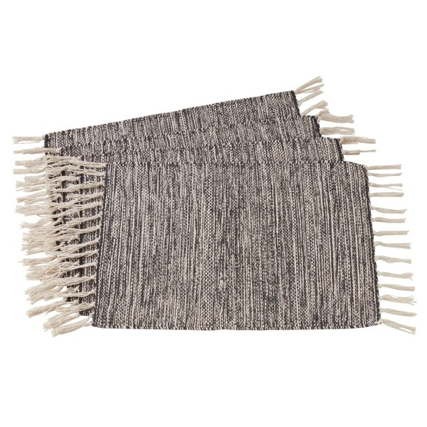 "Rustic Woven Cotton Placemats (Set of 4) - 14""x20"""