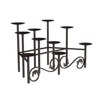 10 Candle Candelabra with Front Scroll- Handcrafted Iron Candle Holder/Centerpiece Lavish Home (Brown)