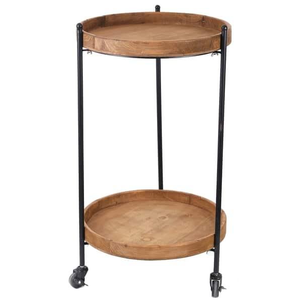 2 Tier Round Bar Cart Wooden Serving On Wheels