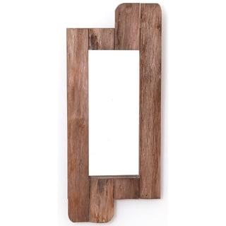 "28"" High Rustic Natural Barn Wood Framed Wall Mirror"