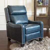 Abbyson Oliver Navy Top Grain Leather Pushback Recliner