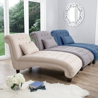 Link to Abbyson Candace Tufted Fabric Chaise Lounge Similar Items in Living Room Chairs