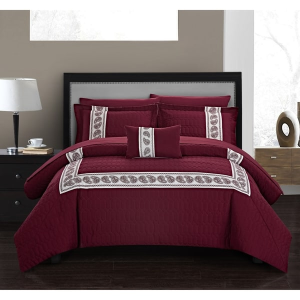 Chic Home Mason 8 Piece Hotel Collection Applique Comforter Set. Opens flyout.