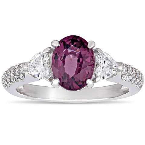 Miadora 14k White Gold Oval and Heart-cut Purple-Spinel & 5/8ct TDW Diamond 3-stone Engagement Ring