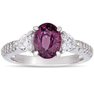 Miadora 14k White Gold Purple-Spinel & 5/8ct TDW Diamond Engagement Ring