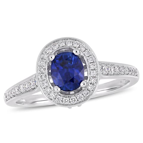 Miadora 14k White Gold Sapphire & 1/2ct TDW Diamond Halo Engagement Ring