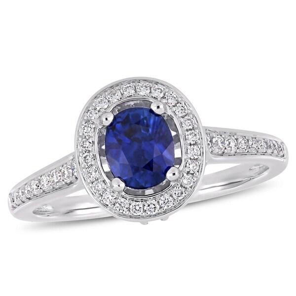 Miadora 14k White Gold Sapphire & 1/2ct TDW Diamond Halo Engagement Ring