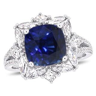 Miadora 14k White Gold Blue Sapphire 1-1/2ct TDW Diamond Geometric Halo Ring