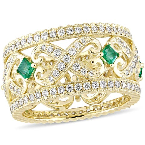 Miadora 14k Yellow Gold Emerald and 7/8ct TDW Diamond Vintage Anniversary Band