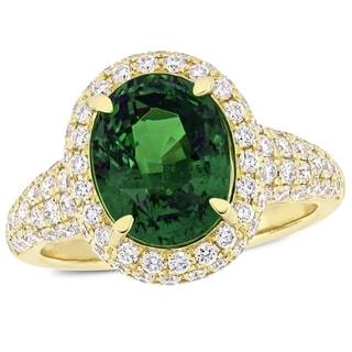 Miadora 14k Yellow Gold Tsavorite and 1-1/3ct TDW Diamond Halo Engagement Ring