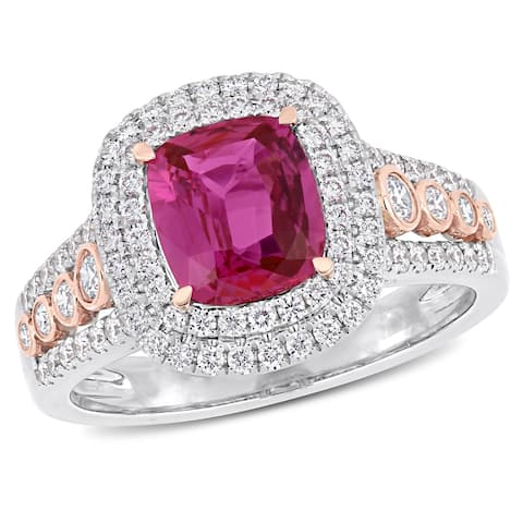 Miadora 2-Tone 14k White and Rose Gold Pink Sapphire 3/4ct TDW Diamond Engagement Ring