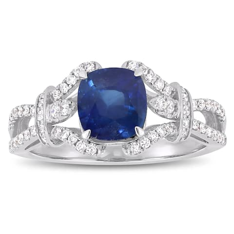 Miadora 14k White Gold Blue Sapphire & 1/3ct TDW Diamond Vintage Engagement Ring