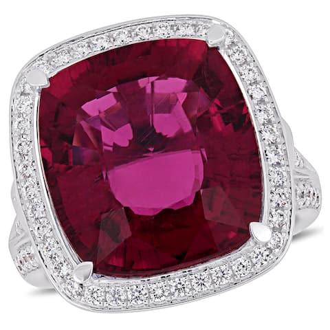 Miadora 14k White Gold Pink Tourmaline and 1-3/8 ct TDW Diamond Halo Ring