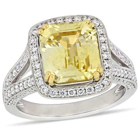 Miadora 2-Tone 14k White & Yellow Gold Yellow Sapphire & 1ct TDW Diamond Split Shank Halo Ring
