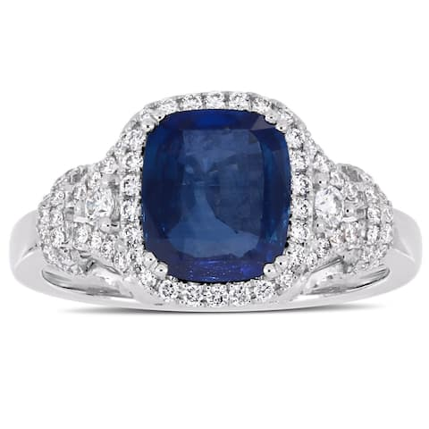 Miadora 14k White Gold Sapphire & 1/2ct TDW Diamond Halo Cluster Engagement Ring