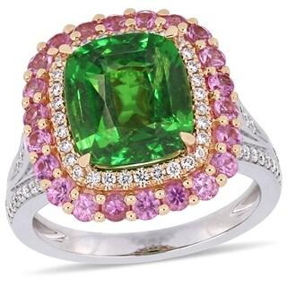 Miadora 2-Tone 14k White and Rose Gold Tsavorite Pink Sapphire & 3/8ct TDW Diamond Ring
